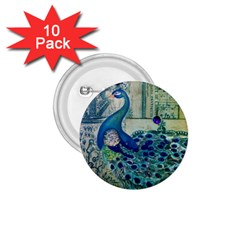 French Scripts Vintage Peacock Floral Paris Decor 1 75  Button (10 Pack) by chicelegantboutique