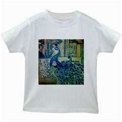 French Scripts Vintage Peacock Floral Paris Decor Kids' T Shirt (white) by chicelegantboutique