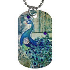 French Scripts Vintage Peacock Floral Paris Decor Dog Tag (one Sided) by chicelegantboutique