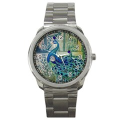 French Scripts Vintage Peacock Floral Paris Decor Sport Metal Watch by chicelegantboutique