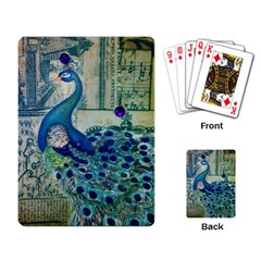 French Scripts Vintage Peacock Floral Paris Decor Playing Cards Single Design by chicelegantboutique