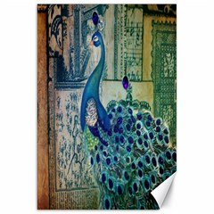French Scripts Vintage Peacock Floral Paris Decor Canvas 20  X 30  (unframed) by chicelegantboutique