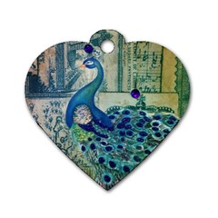 French Scripts Vintage Peacock Floral Paris Decor Dog Tag Heart (one Sided)  by chicelegantboutique