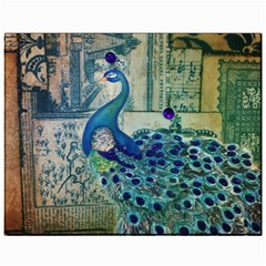 French Scripts Vintage Peacock Floral Paris Decor Canvas 11  X 14  (unframed) by chicelegantboutique