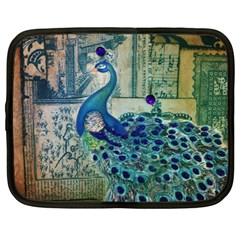 French Scripts Vintage Peacock Floral Paris Decor Netbook Case (large) by chicelegantboutique