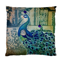 French Scripts Vintage Peacock Floral Paris Decor Cushion Case (two Sided)  by chicelegantboutique