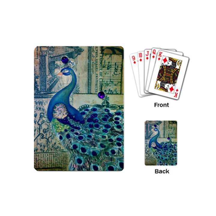 French Scripts Vintage Peacock Floral Paris Decor Playing Cards (Mini)