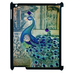 French Scripts Vintage Peacock Floral Paris Decor Apple Ipad 2 Case (black)