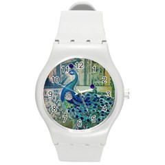 French Scripts Vintage Peacock Floral Paris Decor Plastic Sport Watch (medium) by chicelegantboutique