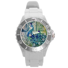 French Scripts Vintage Peacock Floral Paris Decor Plastic Sport Watch (large) by chicelegantboutique