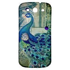 French Scripts Vintage Peacock Floral Paris Decor Samsung Galaxy S3 S Iii Classic Hardshell Back Case by chicelegantboutique