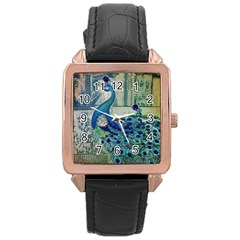 French Scripts Vintage Peacock Floral Paris Decor Rose Gold Leather Watch  by chicelegantboutique