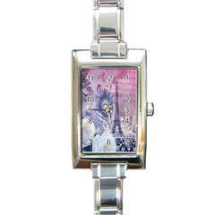Peacock Feather White Rose Paris Eiffel Tower Rectangular Italian Charm Watch by chicelegantboutique