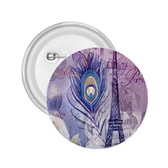 Peacock Feather White Rose Paris Eiffel Tower 2 25  Button by chicelegantboutique