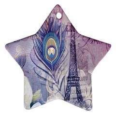 Peacock Feather White Rose Paris Eiffel Tower Star Ornament by chicelegantboutique