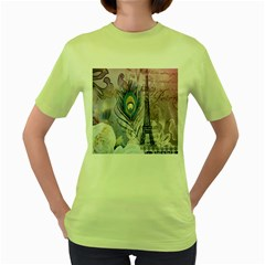 Peacock Feather White Rose Paris Eiffel Tower Womens  T Shirt (green) by chicelegantboutique