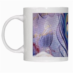 Peacock Feather White Rose Paris Eiffel Tower White Coffee Mug by chicelegantboutique