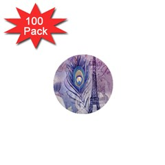 Peacock Feather White Rose Paris Eiffel Tower 1  Mini Button (100 Pack) by chicelegantboutique