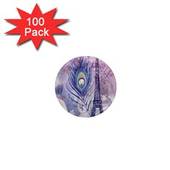 Peacock Feather White Rose Paris Eiffel Tower 1  Mini Button Magnet (100 Pack)