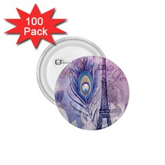 Peacock Feather White Rose Paris Eiffel Tower 1 75  Button (100 Pack) by chicelegantboutique