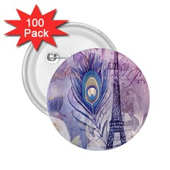 Peacock Feather White Rose Paris Eiffel Tower 2 25  Button (100 Pack) by chicelegantboutique