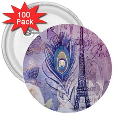 Peacock Feather White Rose Paris Eiffel Tower 3  Button (100 Pack) by chicelegantboutique