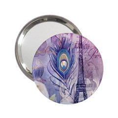 Peacock Feather White Rose Paris Eiffel Tower Handbag Mirror (2.25 ) by chicelegantboutique