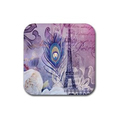Peacock Feather White Rose Paris Eiffel Tower Drink Coaster (square) by chicelegantboutique
