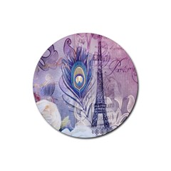 Peacock Feather White Rose Paris Eiffel Tower Drink Coaster (round) by chicelegantboutique
