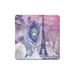 Peacock Feather White Rose Paris Eiffel Tower Magnet (square) by chicelegantboutique