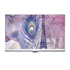 Peacock Feather White Rose Paris Eiffel Tower Business Card Holder by chicelegantboutique