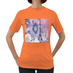 Peacock Feather White Rose Paris Eiffel Tower Womens' T Shirt (colored) by chicelegantboutique