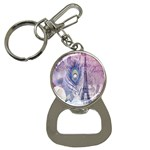 Peacock Feather White Rose Paris Eiffel Tower Bottle Opener Key Chain Front