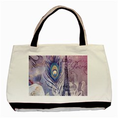 Peacock Feather White Rose Paris Eiffel Tower Classic Tote Bag by chicelegantboutique