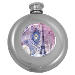 Peacock Feather White Rose Paris Eiffel Tower Hip Flask (round) by chicelegantboutique