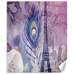Peacock Feather White Rose Paris Eiffel Tower Canvas 8  X 10  (unframed) by chicelegantboutique