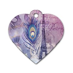 Peacock Feather White Rose Paris Eiffel Tower Dog Tag Heart (one Sided)  by chicelegantboutique