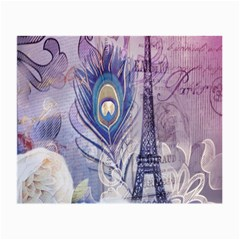Peacock Feather White Rose Paris Eiffel Tower Glasses Cloth (small, Two Sided) by chicelegantboutique