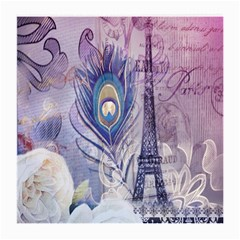 Peacock Feather White Rose Paris Eiffel Tower Glasses Cloth (medium, Two Sided)