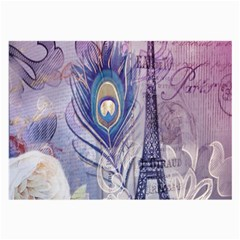 Peacock Feather White Rose Paris Eiffel Tower Glasses Cloth (large) by chicelegantboutique