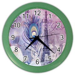 Peacock Feather White Rose Paris Eiffel Tower Wall Clock (color) by chicelegantboutique