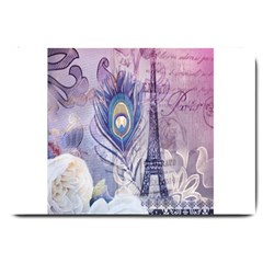 Peacock Feather White Rose Paris Eiffel Tower Large Door Mat by chicelegantboutique