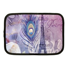 Peacock Feather White Rose Paris Eiffel Tower Netbook Case (medium) by chicelegantboutique