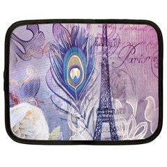 Peacock Feather White Rose Paris Eiffel Tower Netbook Case (large) by chicelegantboutique