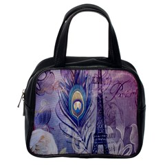 Peacock Feather White Rose Paris Eiffel Tower Classic Handbag (one Side) by chicelegantboutique