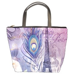 Peacock Feather White Rose Paris Eiffel Tower Bucket Bag by chicelegantboutique