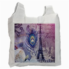 Peacock Feather White Rose Paris Eiffel Tower Recycle Bag (one Side) by chicelegantboutique