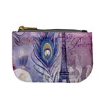 Peacock Feather White Rose Paris Eiffel Tower Coin Change Purse Front