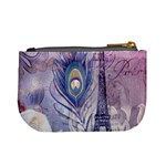 Peacock Feather White Rose Paris Eiffel Tower Coin Change Purse Back