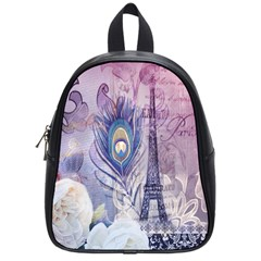 Peacock Feather White Rose Paris Eiffel Tower School Bag (small) by chicelegantboutique